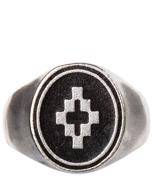 Anello Marcelo Burlon cross cmoc001e198660129110 silver black