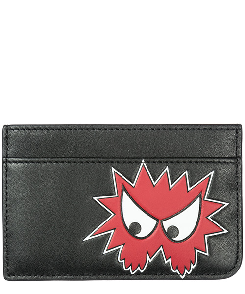 Men's genuine leather credit card case holder wallet rave monster