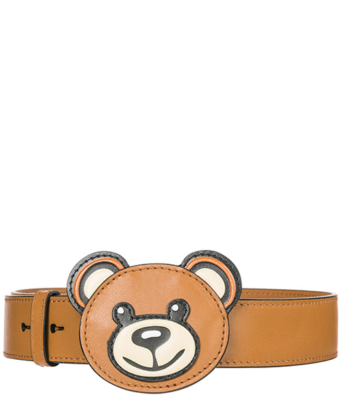 Women's leather shoulder strap teddy bear