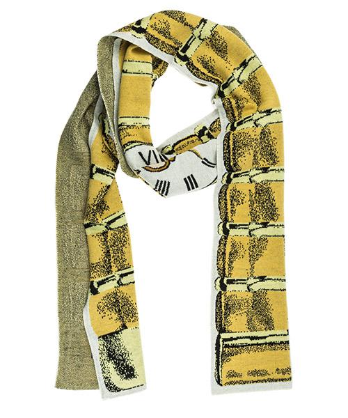 Шерстяной шарф Moschino clock V338054060888 beige