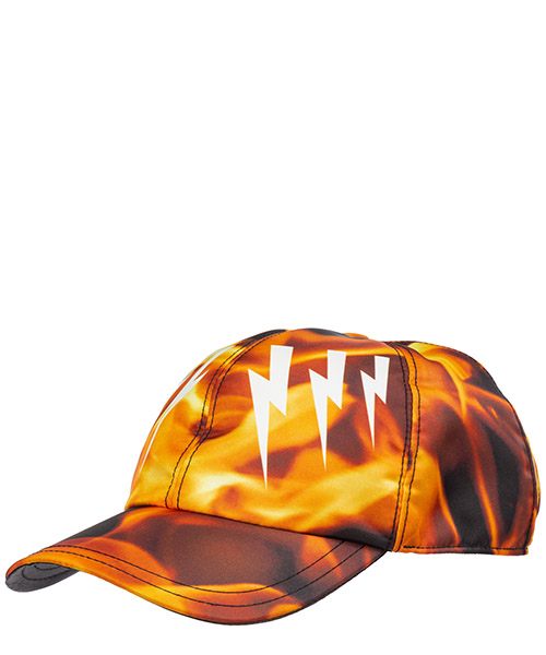 Cappello Neil Barrett mirrored bolts flames bcp301gm9521 1495 nero