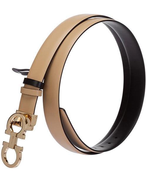 Women's adjustable length reversible leather belt gancini secondary image