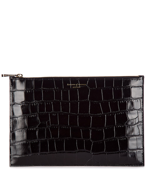 Clutch Aspinal of London 039-1642 deep shine black croc