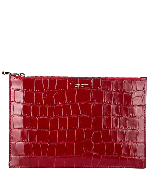 Clutch Aspinal of London 039-1642 deep shine red croc