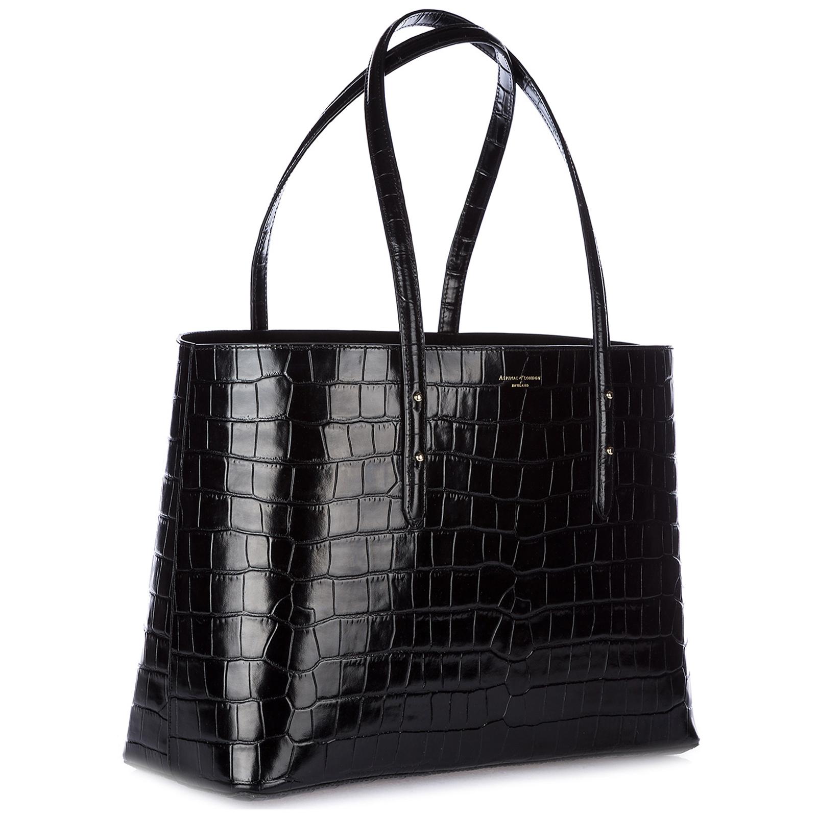 Handbag Aspinal of London 0421848183427BLK deep shine black croc ... 87f4a9ff7608e