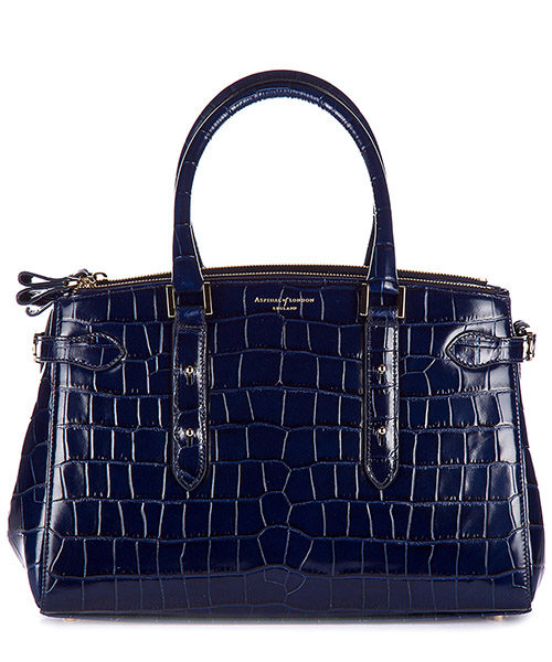 Borsa a mano Aspinal of London 042-1207 deep shine navy croc