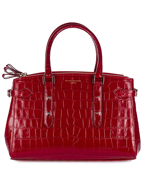 Handbag Aspinal of London 042-1207 deep shine red croc
