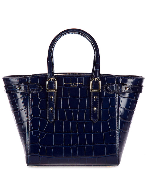 Handbags Aspinal of London 042-1521 deep shine navy croc