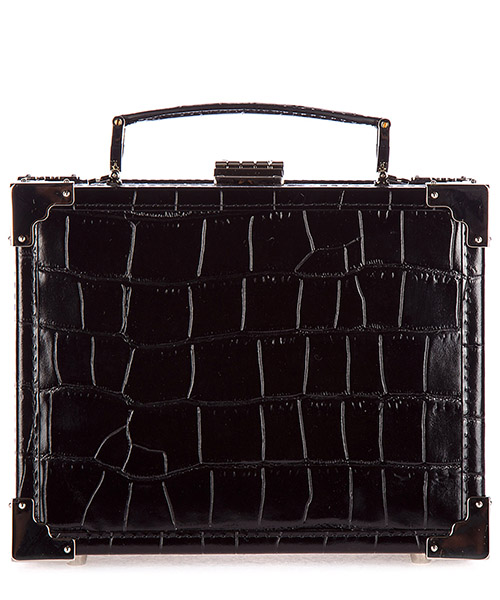 Clutch Aspinal of London 042-1571 deep shine black croc