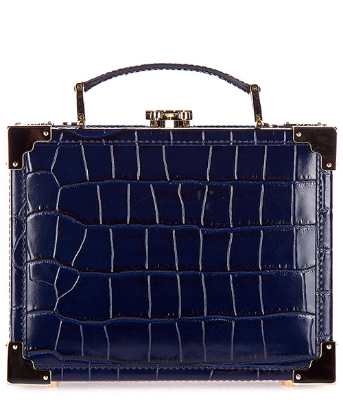 Clutch Aspinal of London 042-1571 deep shine navy croc