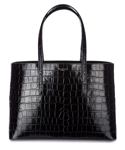 Borsa a mano Aspinal of London 0421848183427BLK deep shine black croc - black