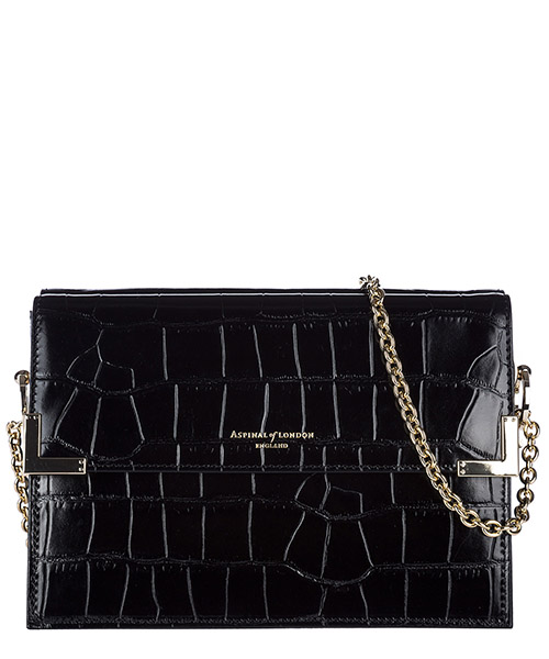 Borsa a spalla Aspinal of London 042-2060 deep shine black croc