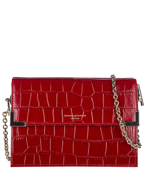Borsa a spalla Aspinal of London 0422060111427RED deep shine red croc