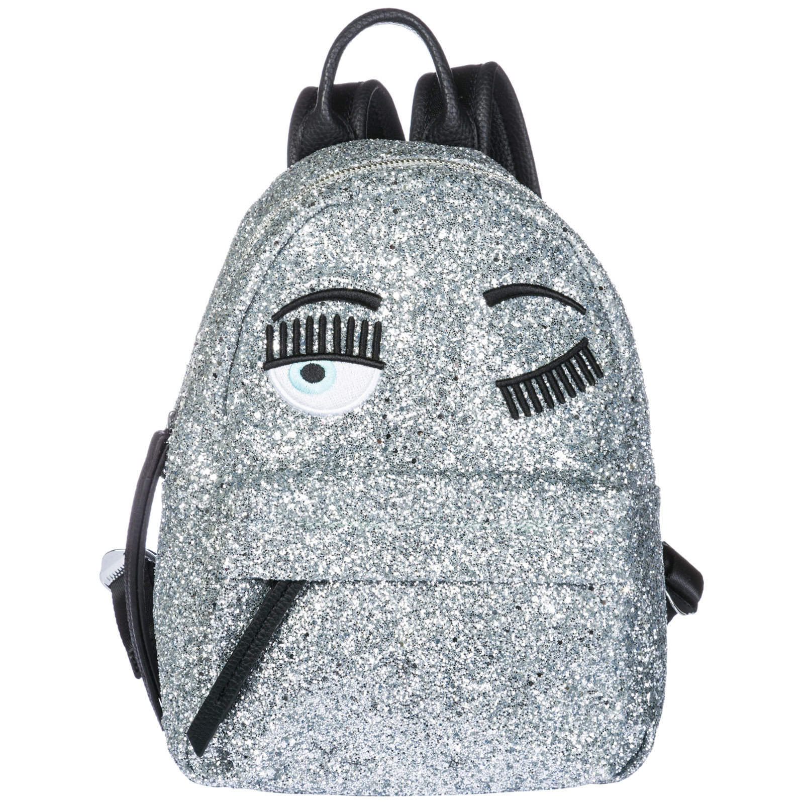 Flirting Small Silver Glitter And Black Faux Leather Backpack in Metallic