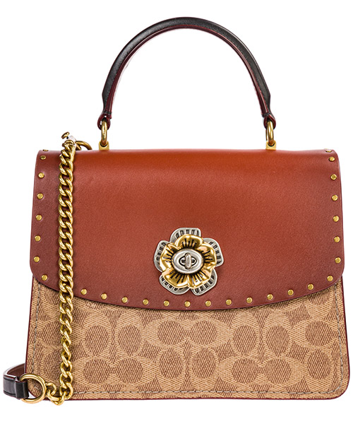 Women's leather handbag shopping bag purse parker