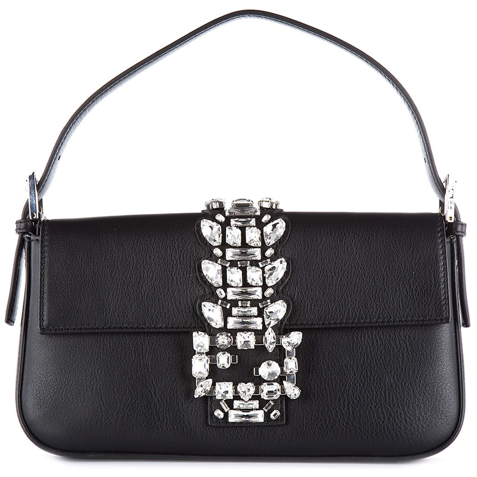 Women s leather shoulder bag baguette vitello dolce coda strass ... 26560dc019b85