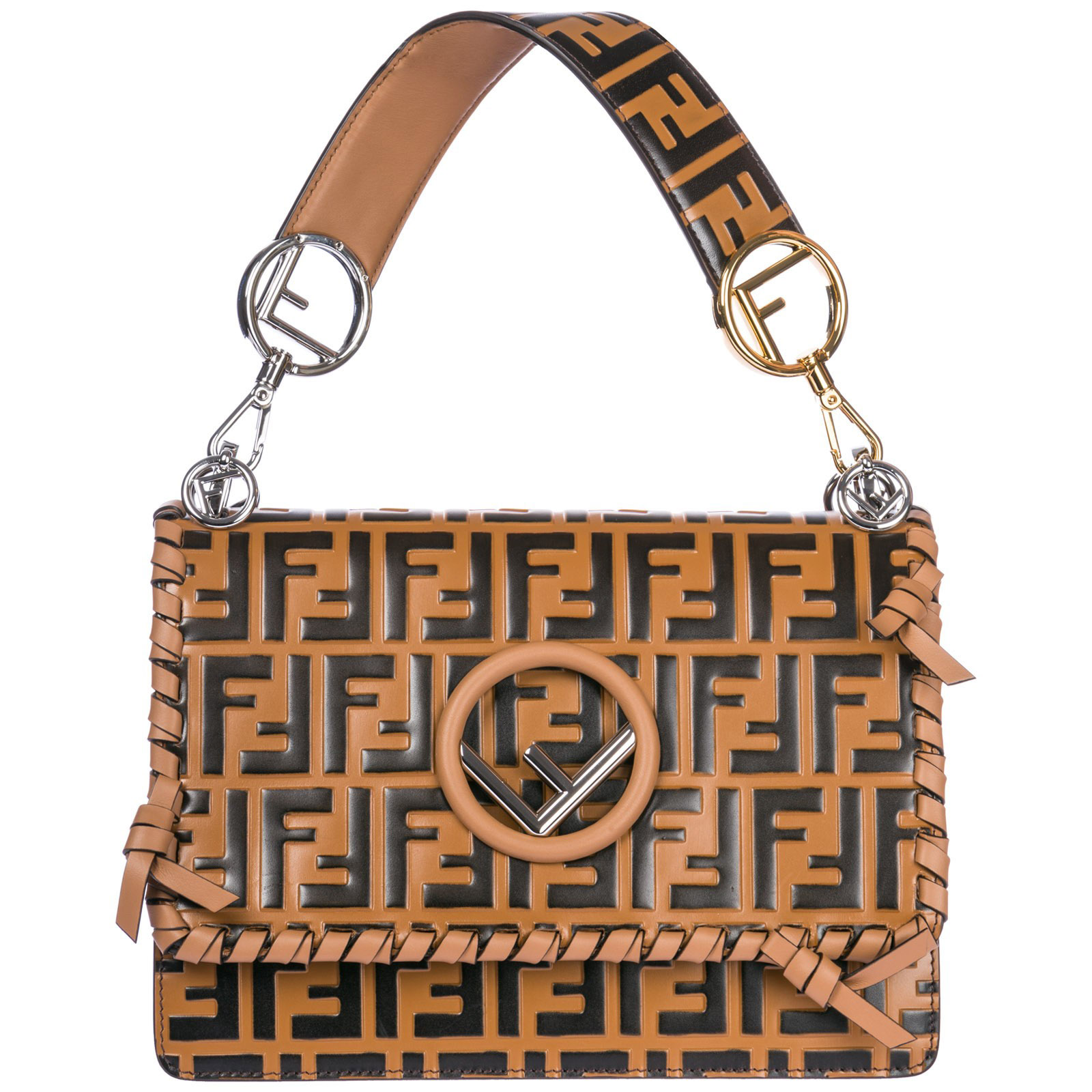 372fbfeafa0f FENDI WOMEN S LEATHER HANDBAG SHOPPING BAG PURSE KAN I F