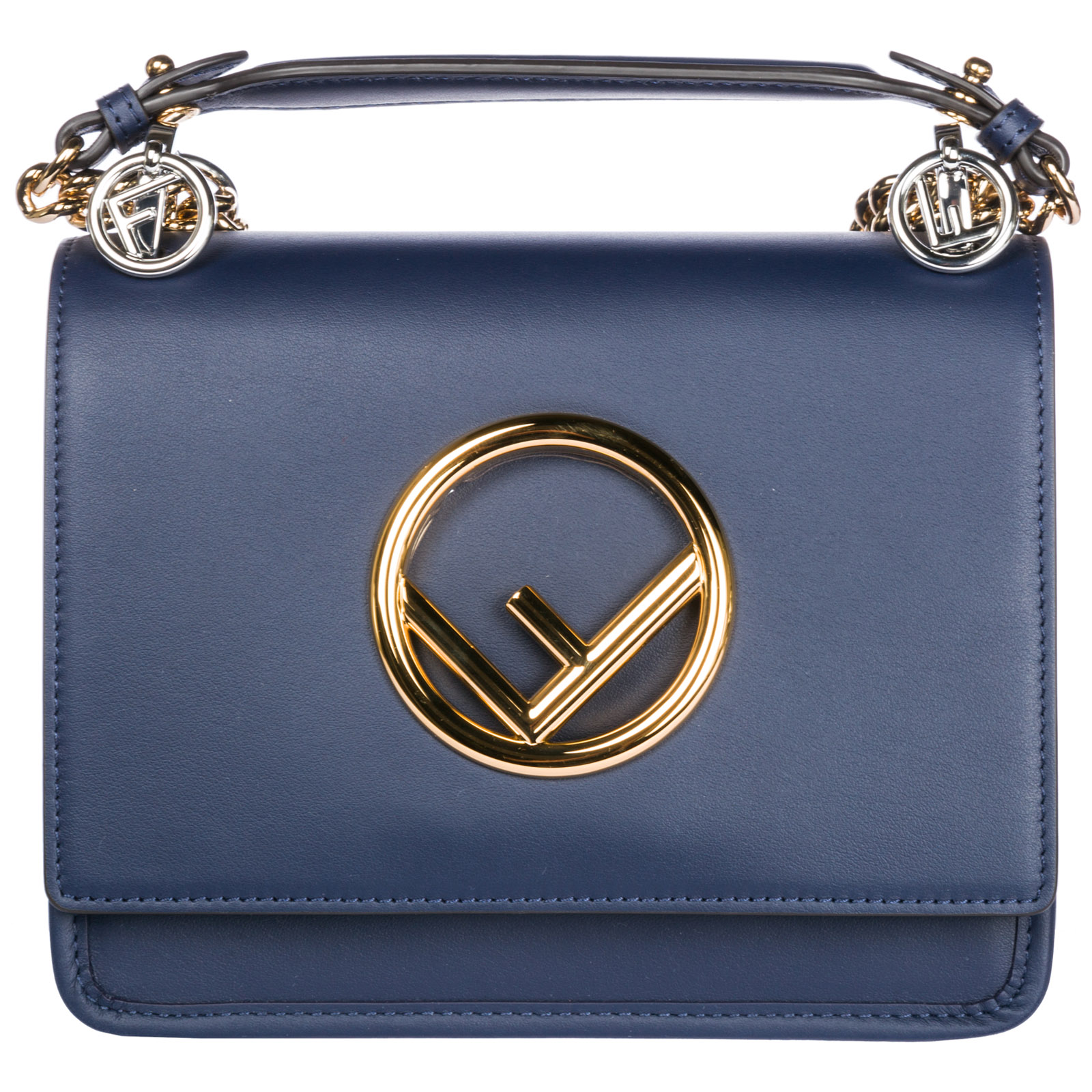 Schultertasche Leder Damen Tasche Umhängetasche Bag Kan I Logo Piccola, Blue