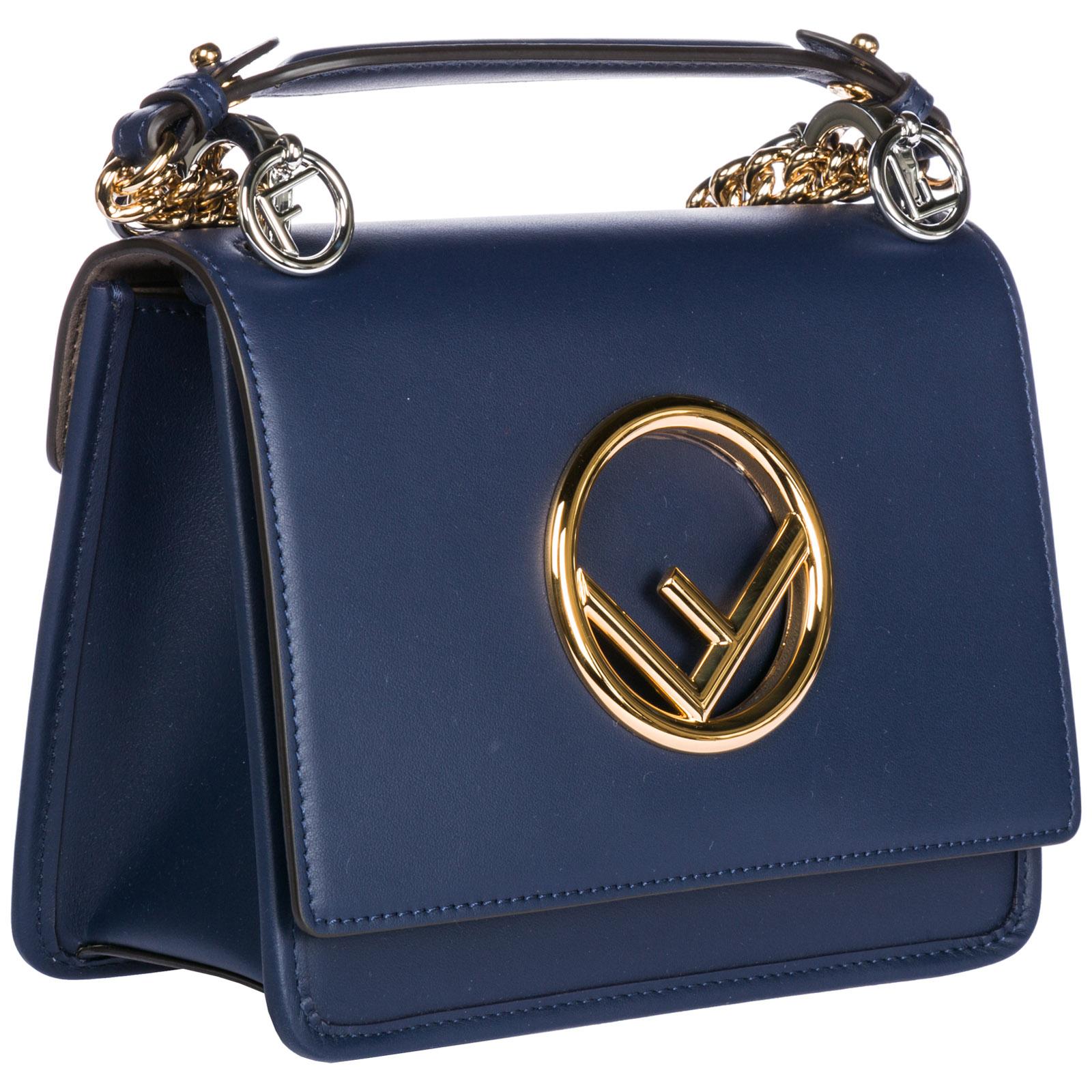 4665067440fb ... Women s leather shoulder bag kan i logo piccola
