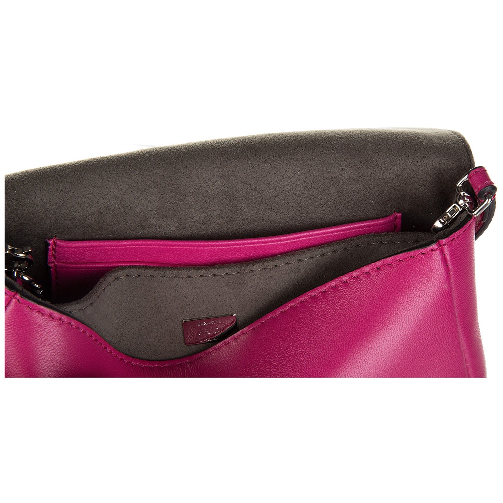 Women's leather shoulder bag micro baguette