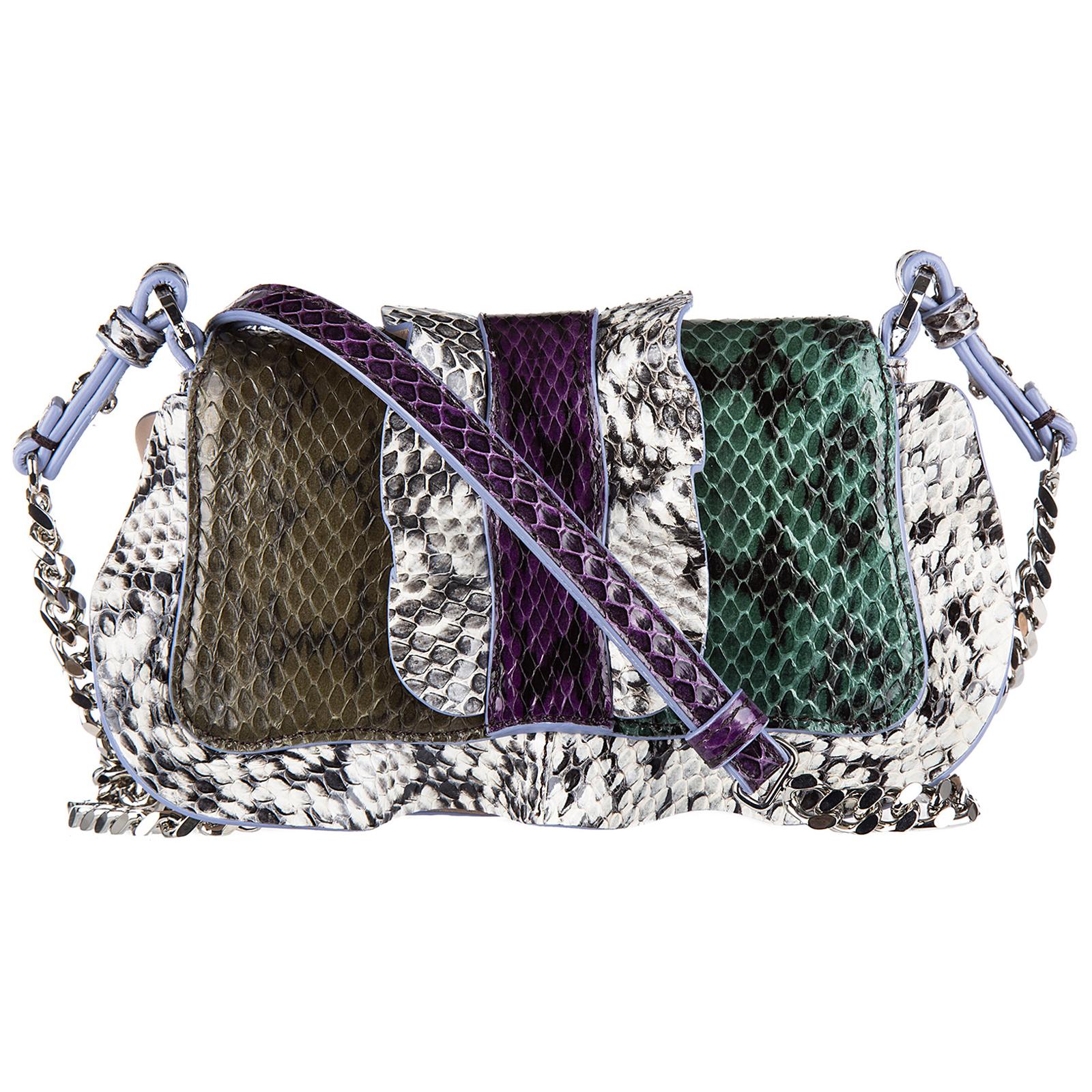 Наплечная сумка женская кожаная micro baguette elaphe multi waves