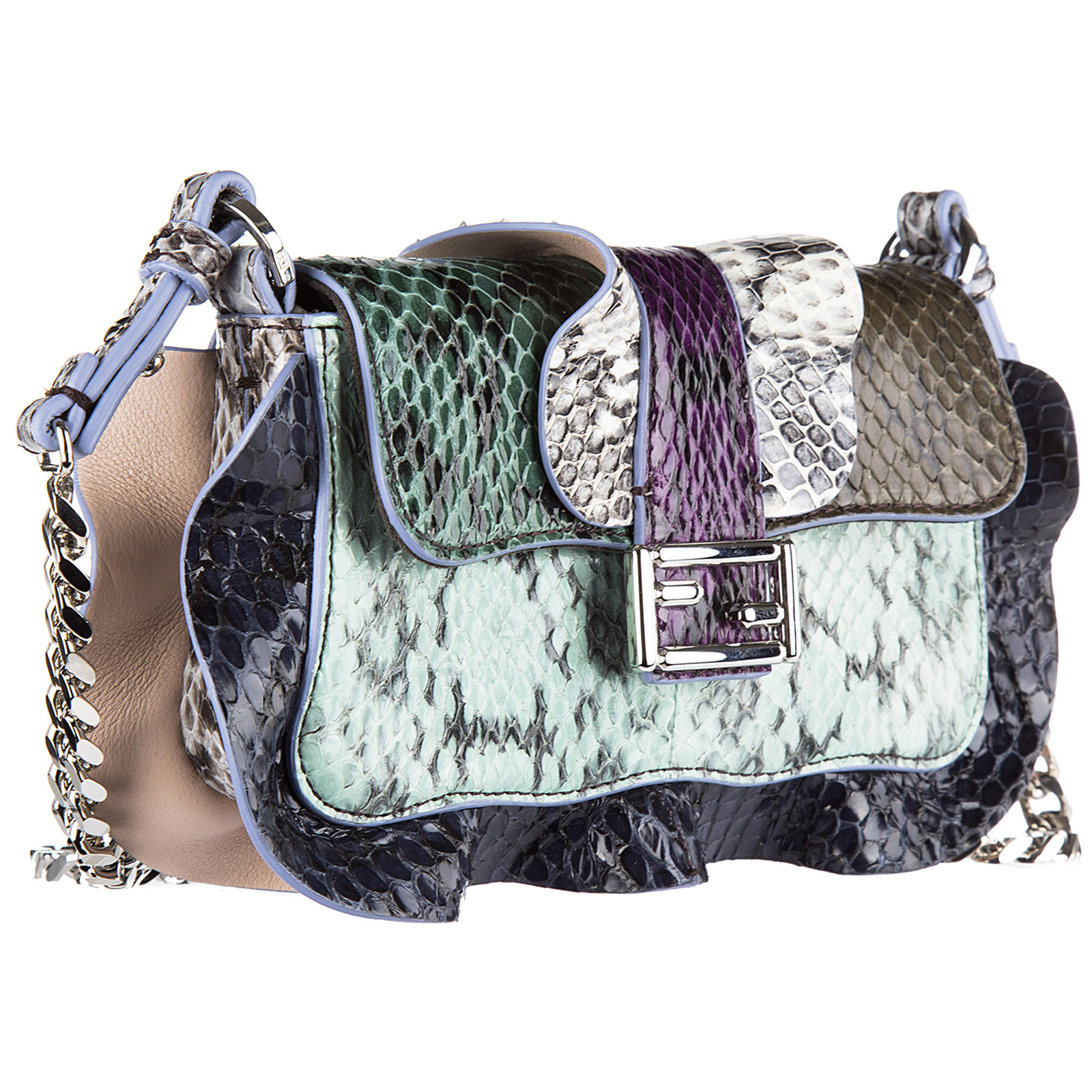 Borsa donna a spalla shopping in pelle micro baguette elaphe multi waves