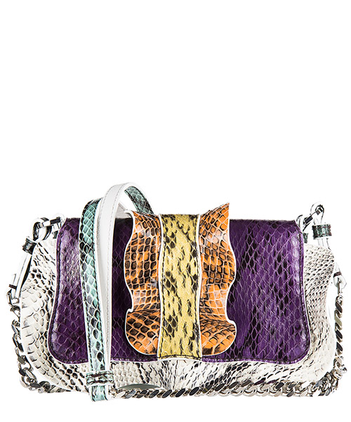 Borsa donna a spalla shopping in pelle micro baguette elaphe multi waves secondary image