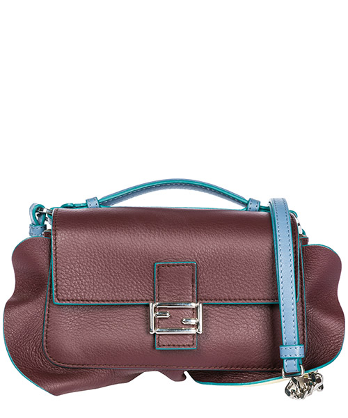 Women's leather shoulder bag doppia micro baguette secondary image