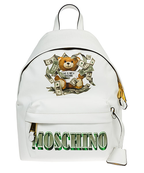 Sac à dos Moschino dollar teddy bear a763682103001 bianco