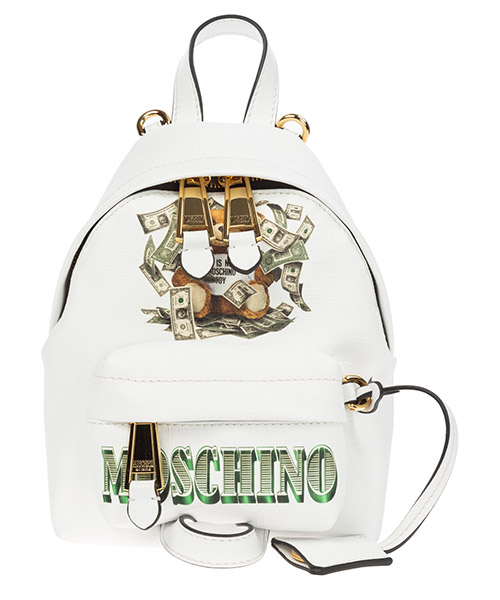 Backpack Moschino dollar teddy bear a763782103001 bianco
