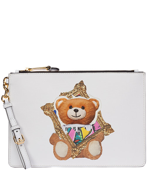 Clutch Moschino frame teddy bear A842982102001 bianco
