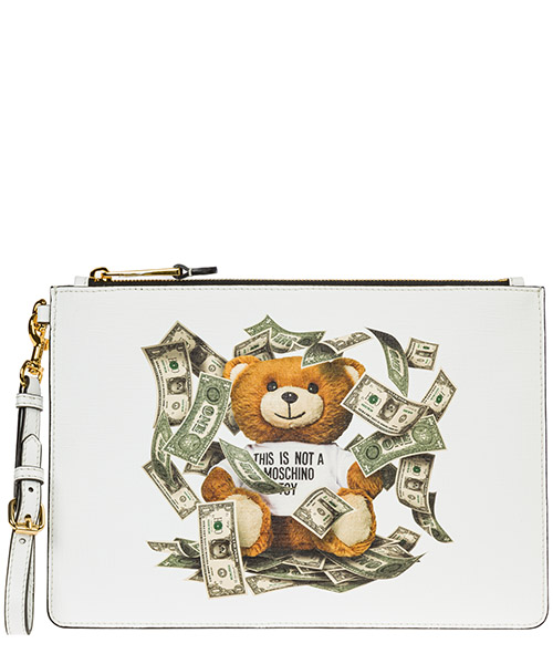 Clutch bag Moschino dollar teddy bear A844482103001 bianco