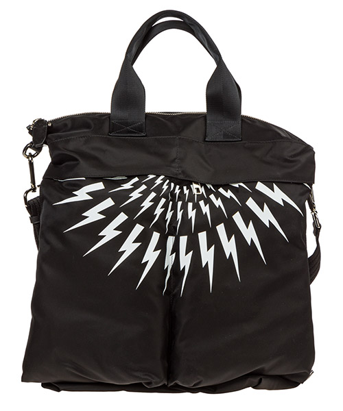 Bolsas de mano Neil Barrett Thunderbolt fair-isle BBO247AM9101 524 nero