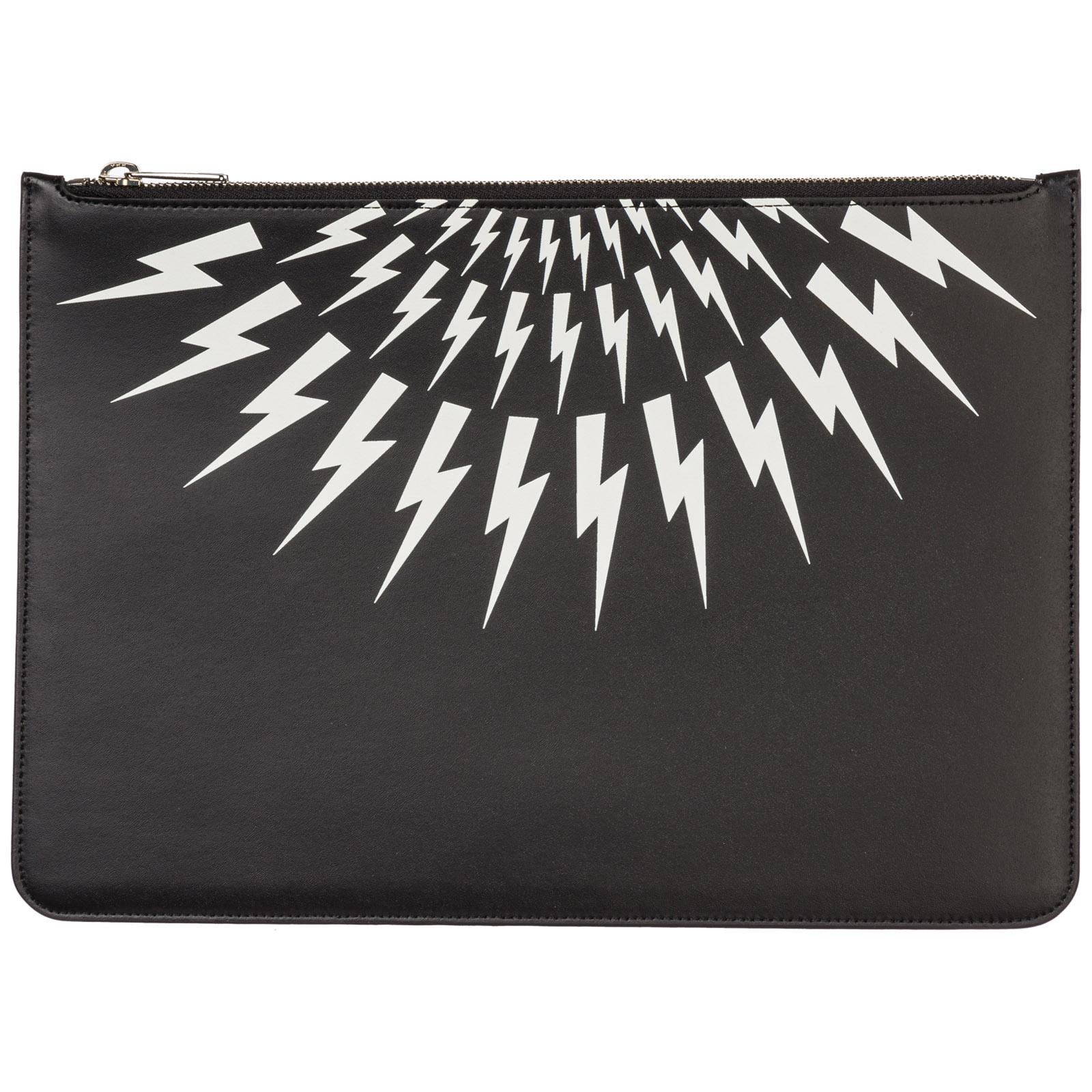 Neil Barrett Men's Bag Handbag Genuine Leather  Thunderbolt Fair-Isle In Black
