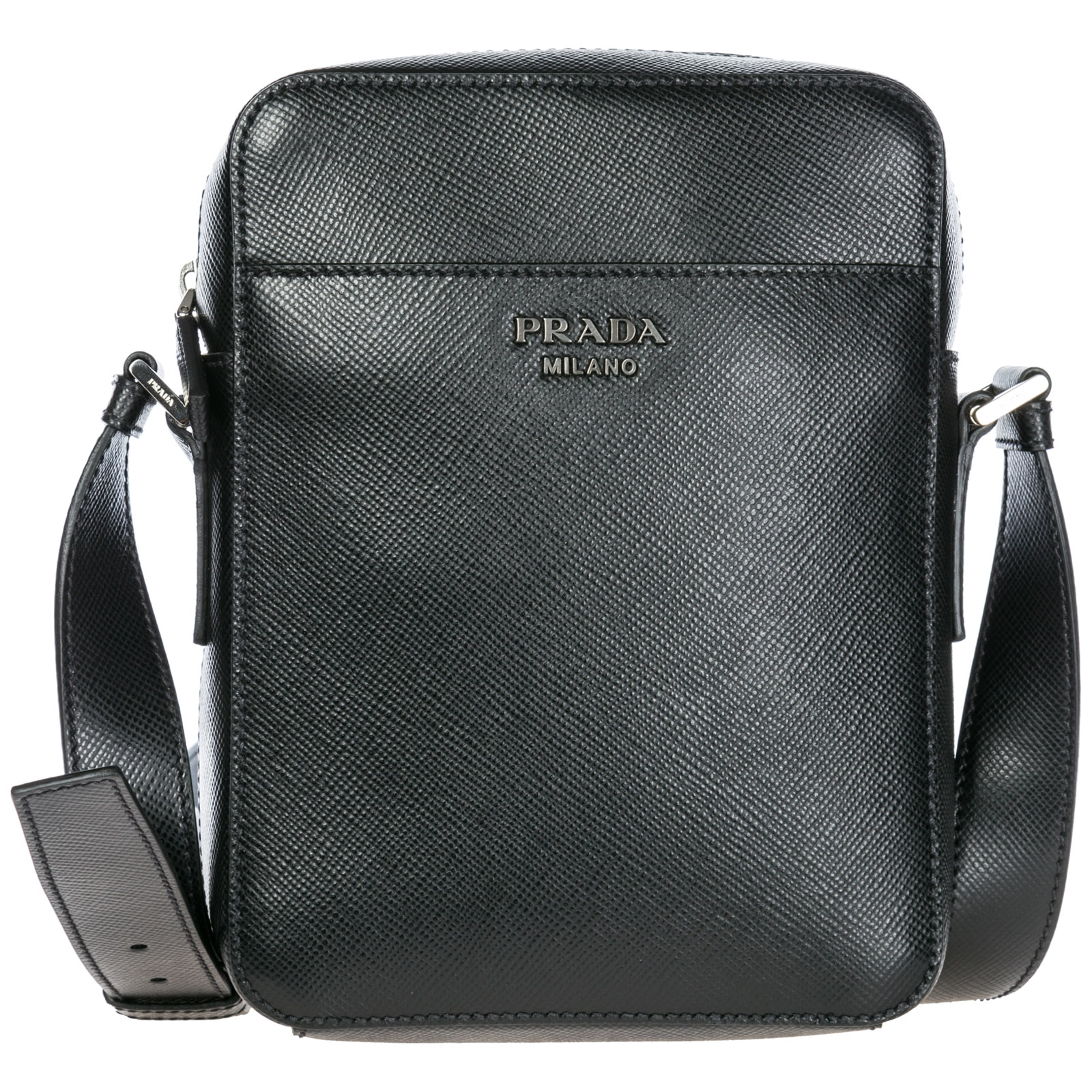 Men's leather cross-body messenger shoulder bag