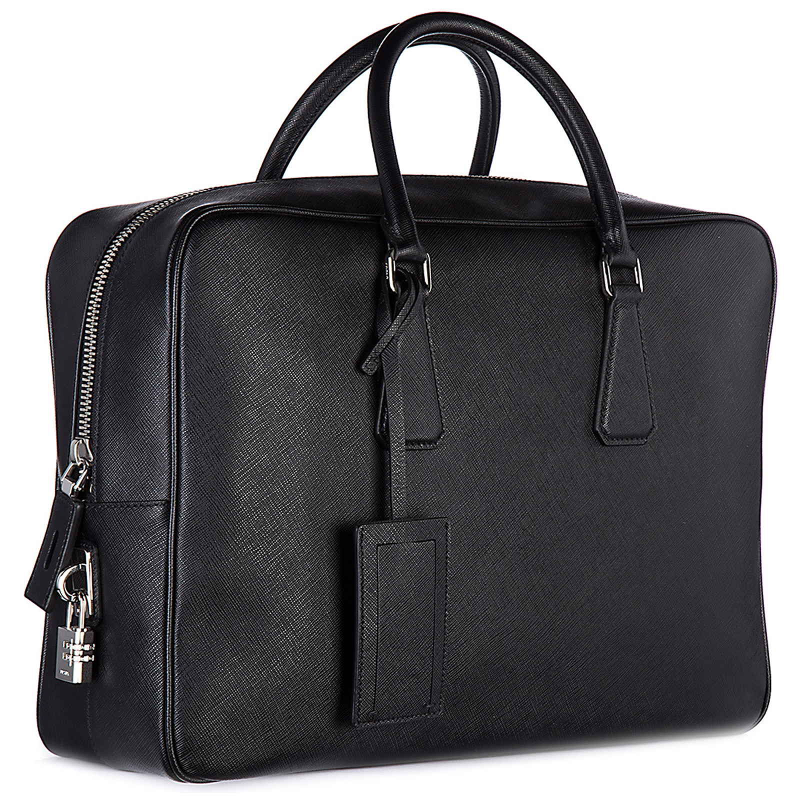 Briefcase attaché case laptop pc bag leather saffiano travel