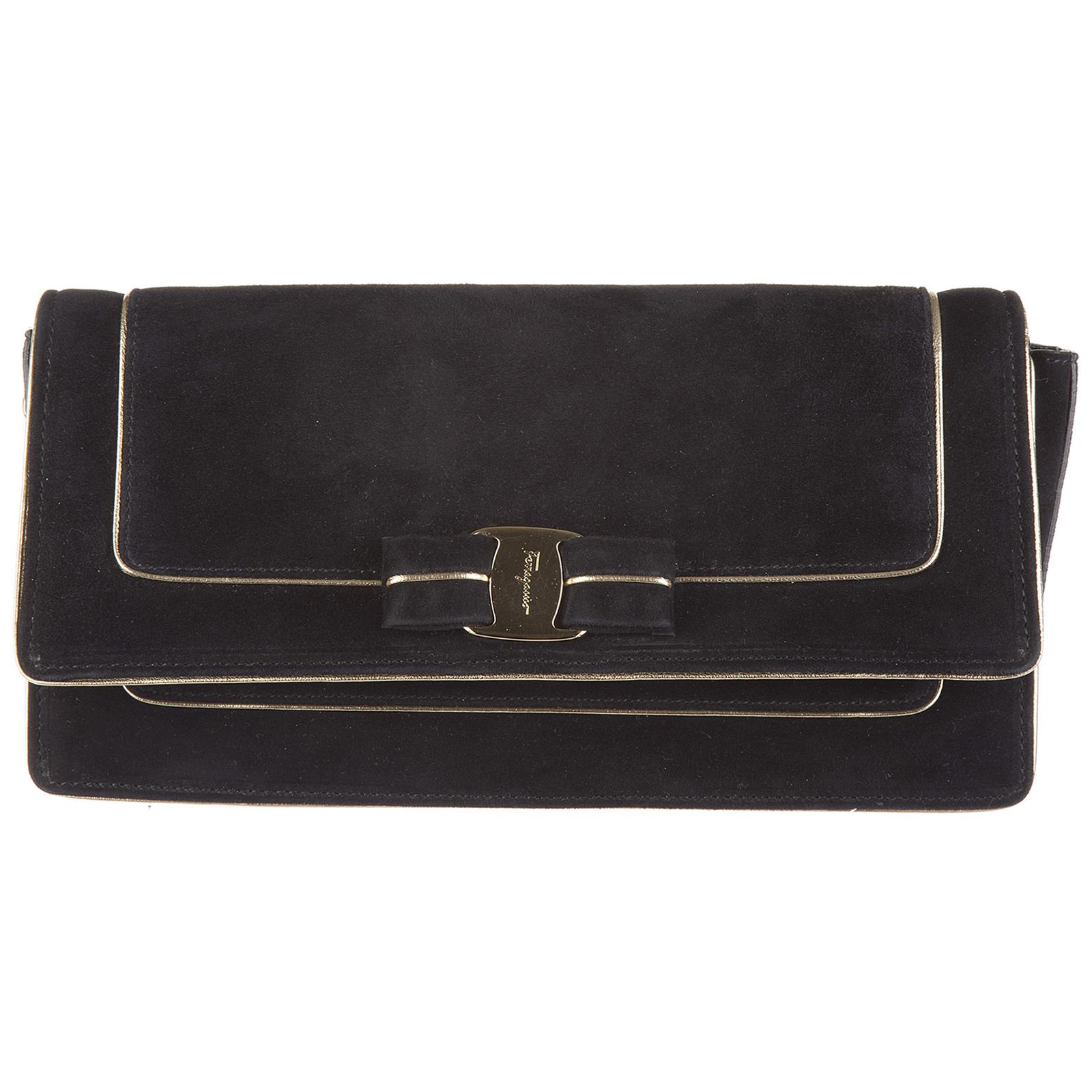 Salvatore Ferragamo Women s suede clutch handbag bag purse camy fed2ce547f588