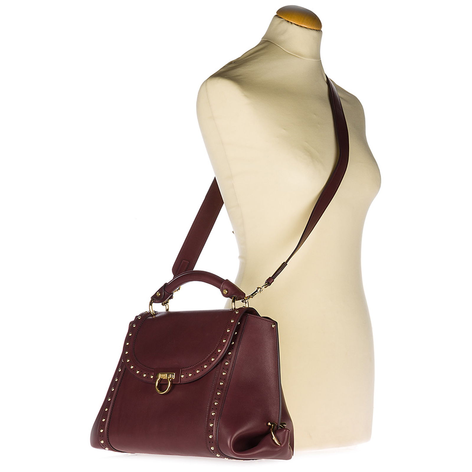 f4dbc7a7b0 Handbag Salvatore Ferragamo Sofia 21G805 681061 deep bordeaux ...