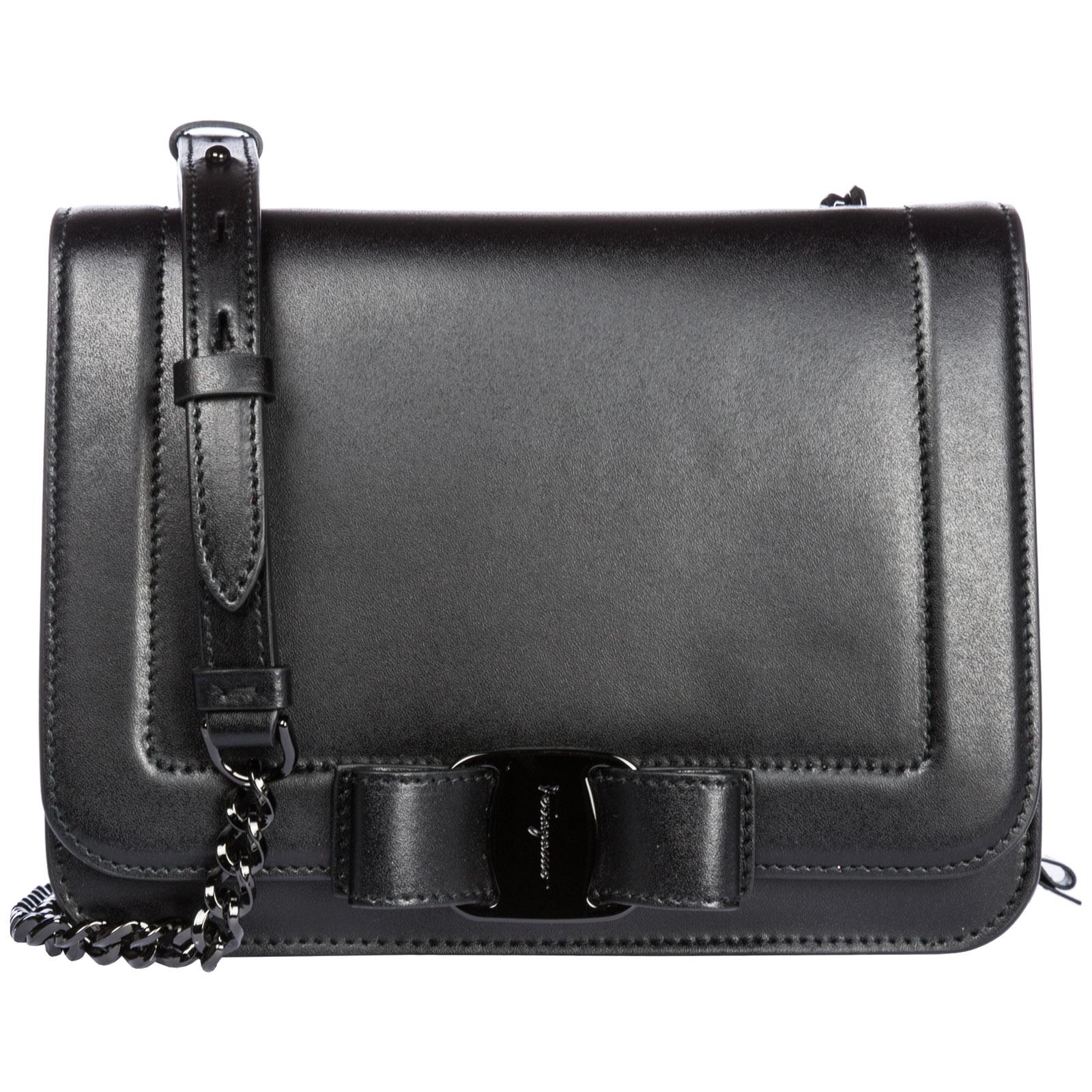 f617ee22be6a Salvatore Ferragamo Women S Leather Cross-Body Messenger Shoulder Bag Vara  Rainbow In Black