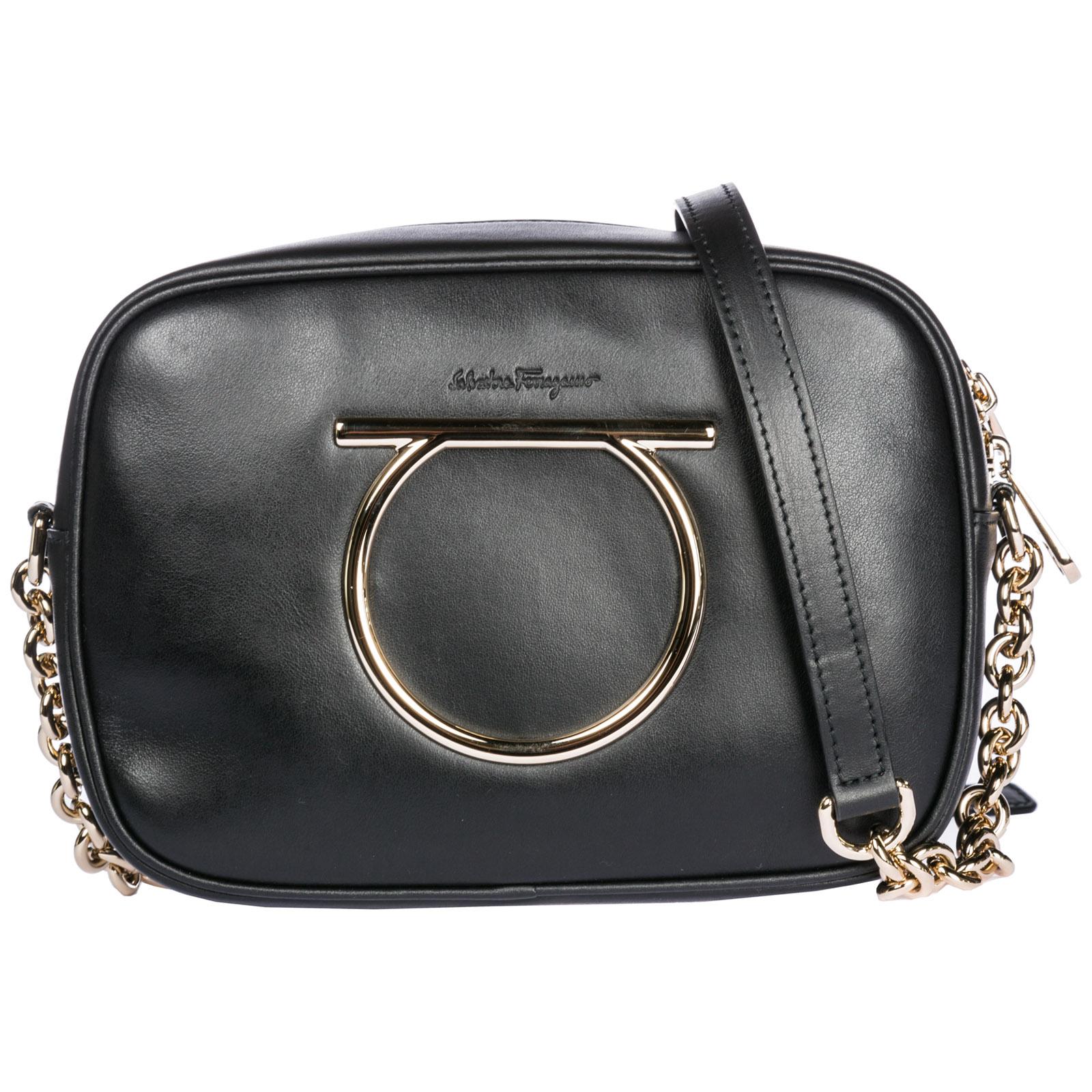 Salvatore Ferragamo Women S Leather Cross-Body Messenger Shoulder Bag  Camera Bag Gancini In Black bbaaa02f33