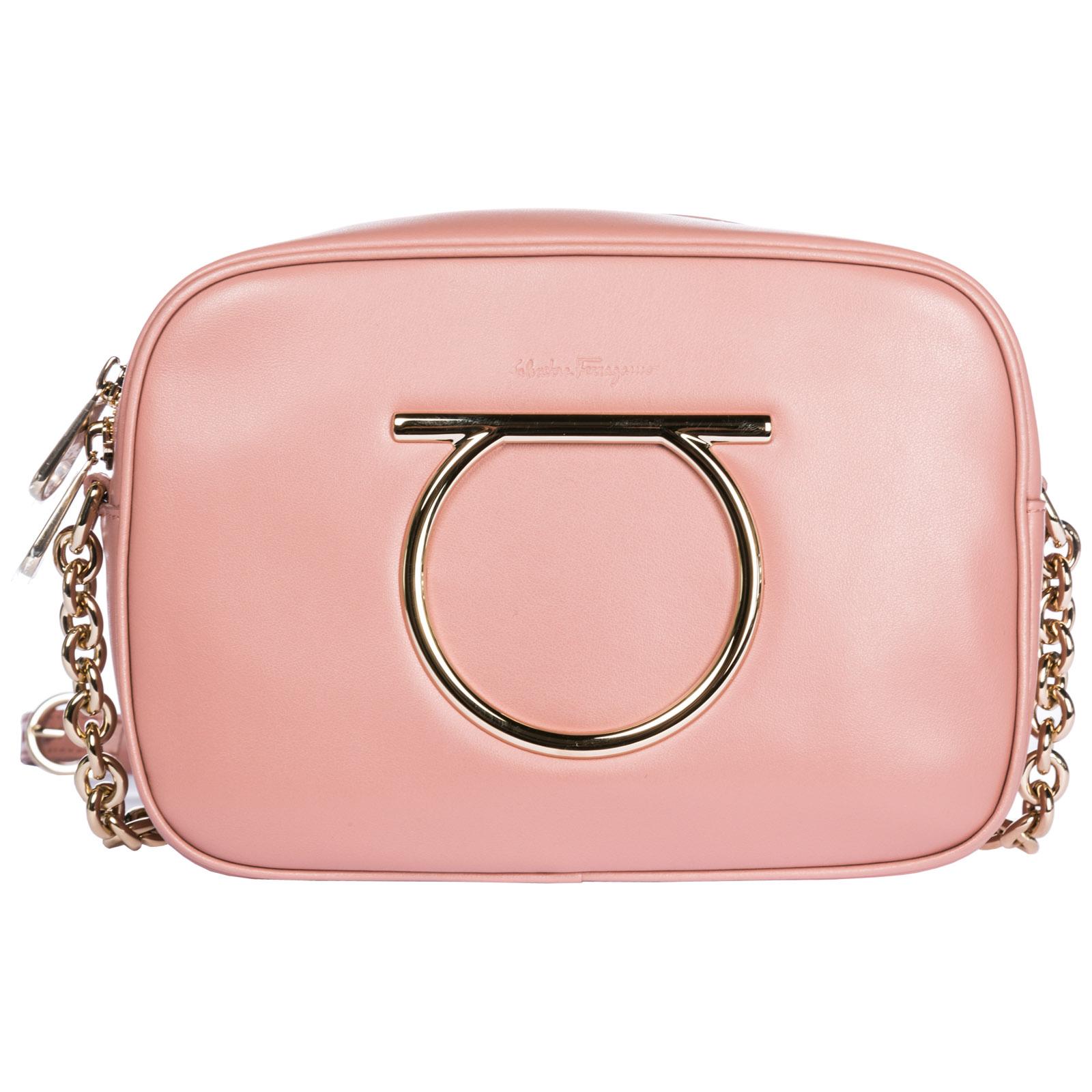 Salvatore Ferragamo Women S Leather Cross-Body Messenger Shoulder Bag  Camera Bag Gancini In Pink 82cd7631ac