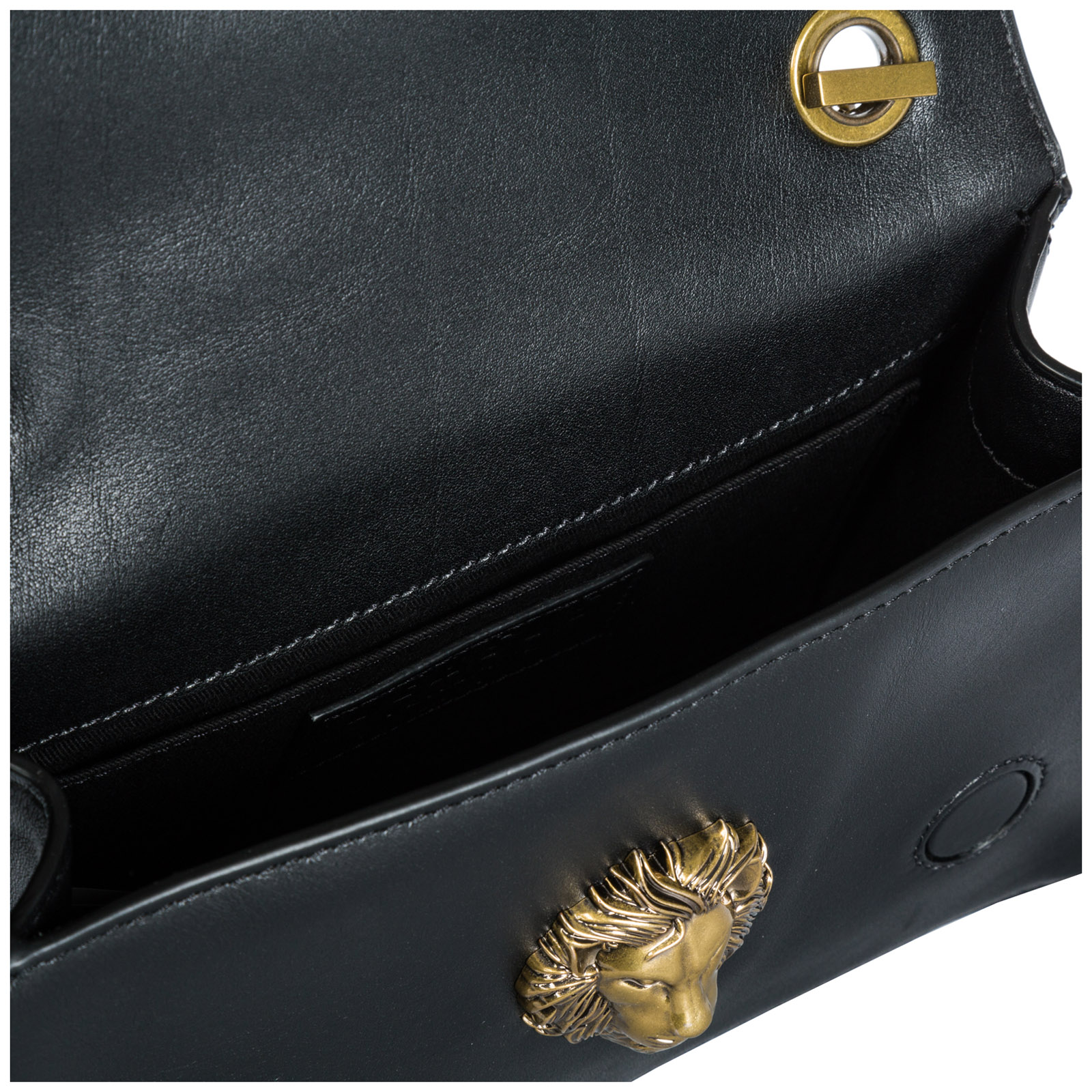 Women's leather clutch with shoulder strap handbag bag purse  lion head
