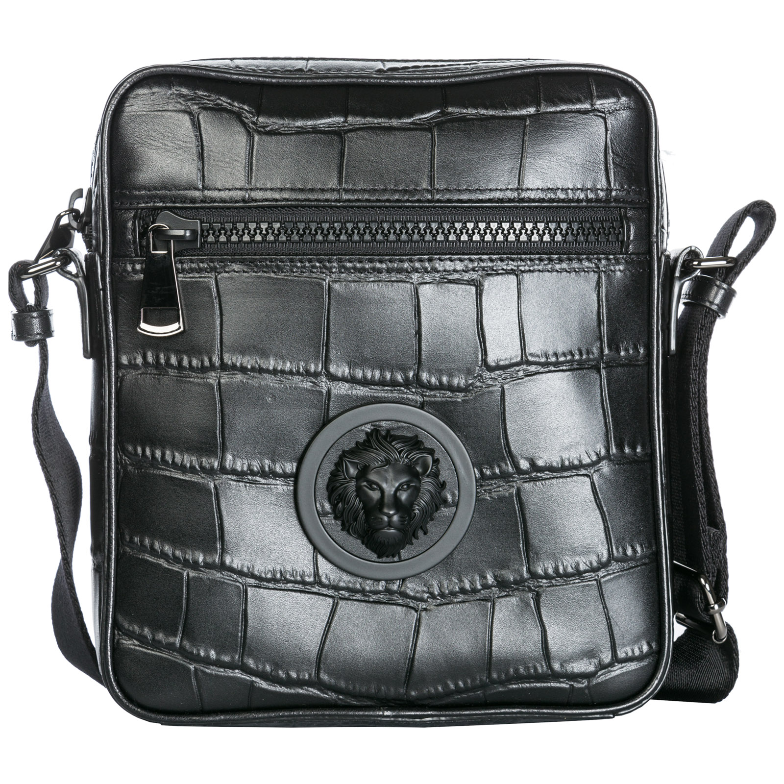 ef2b70b626 Versus Versace Men s leather cross-body messenger shoulder bag lion head