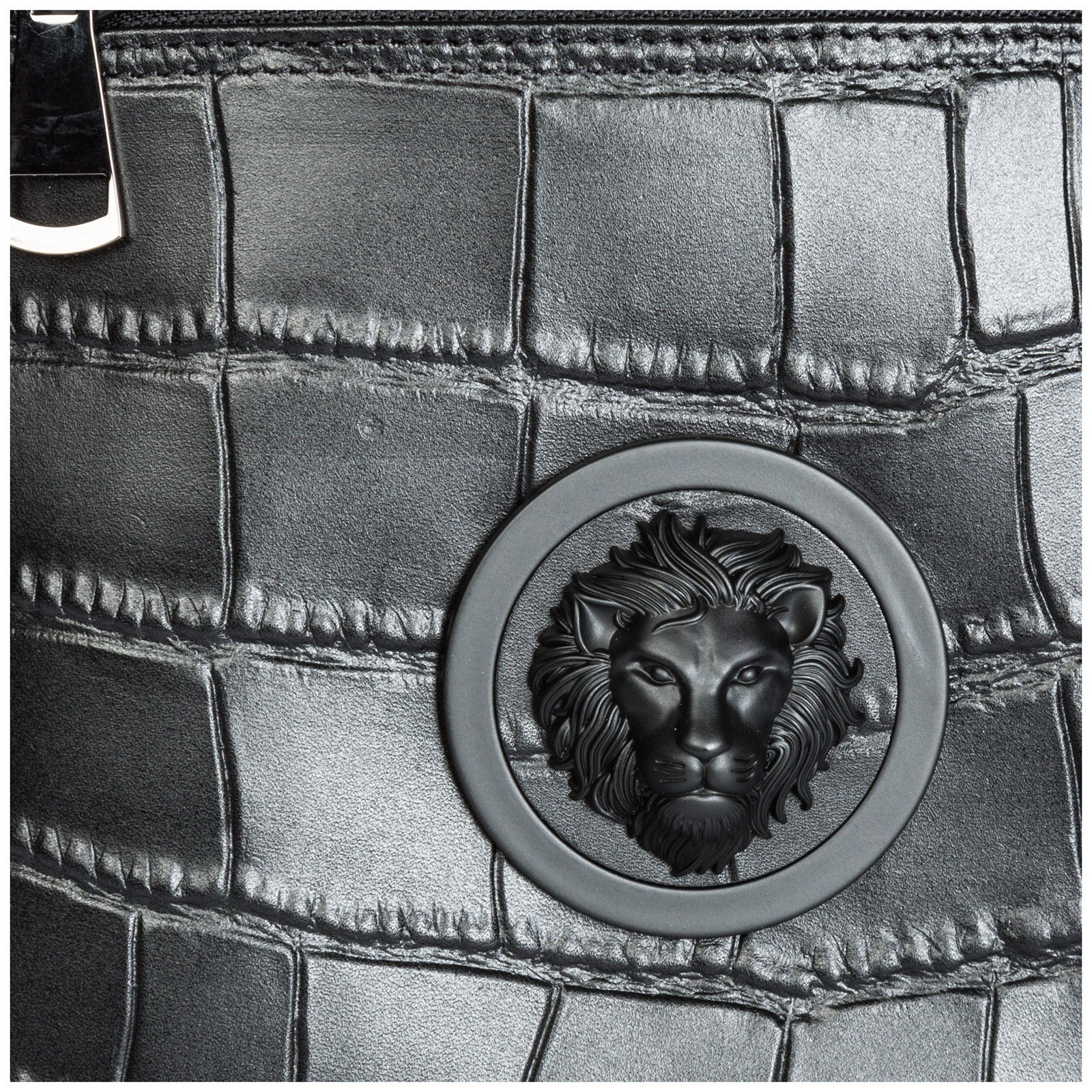 Men's leather cross-body messenger shoulder bag lion head