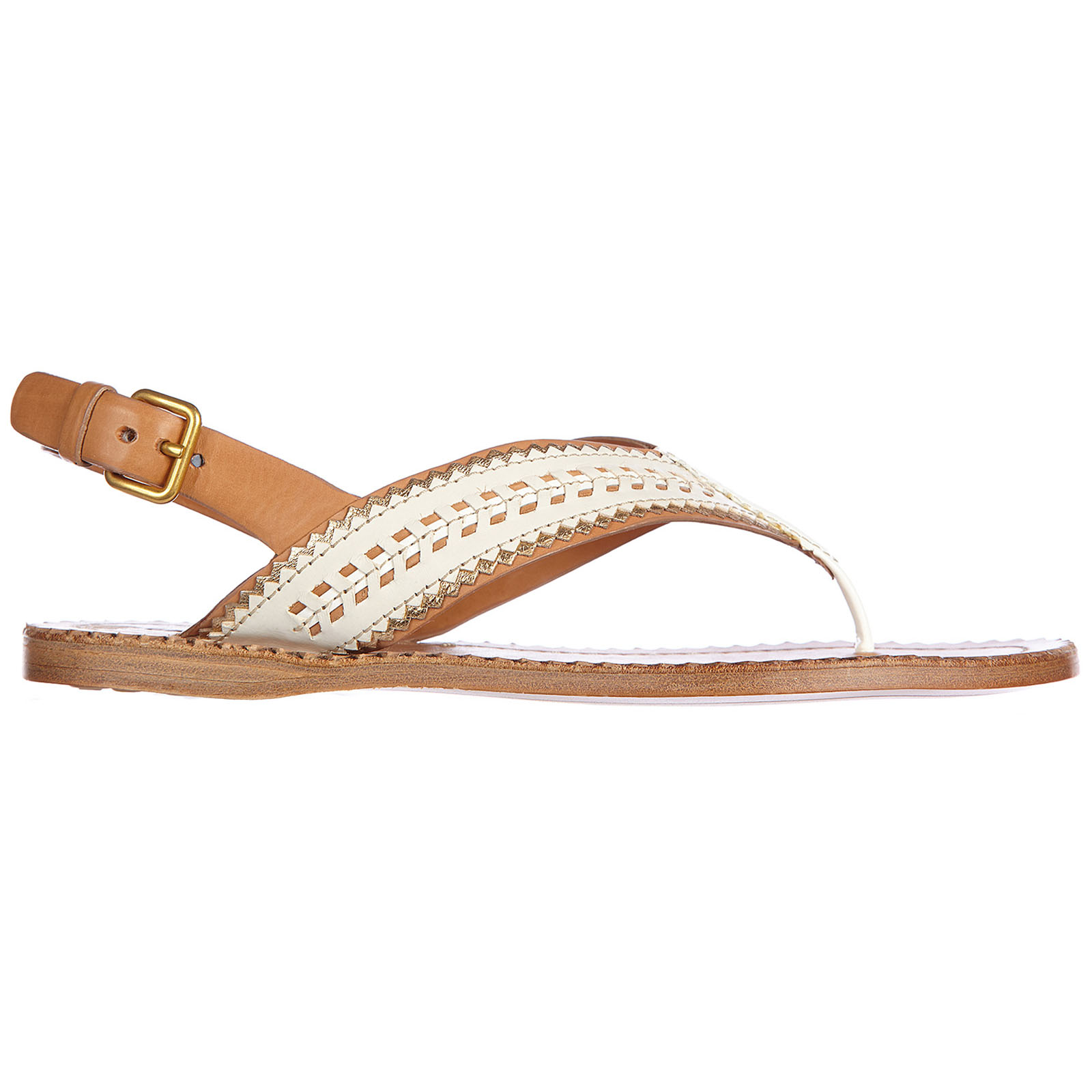 Women's leather flip flops sandals nature
