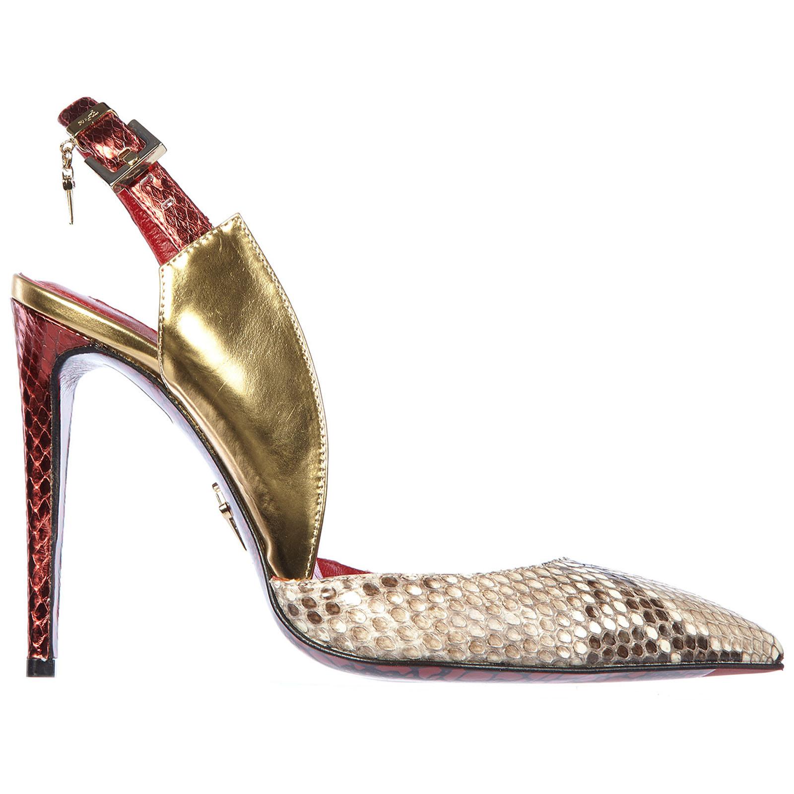 Decolletes decoltè scarpe donna con tacco pelle pitone mirror