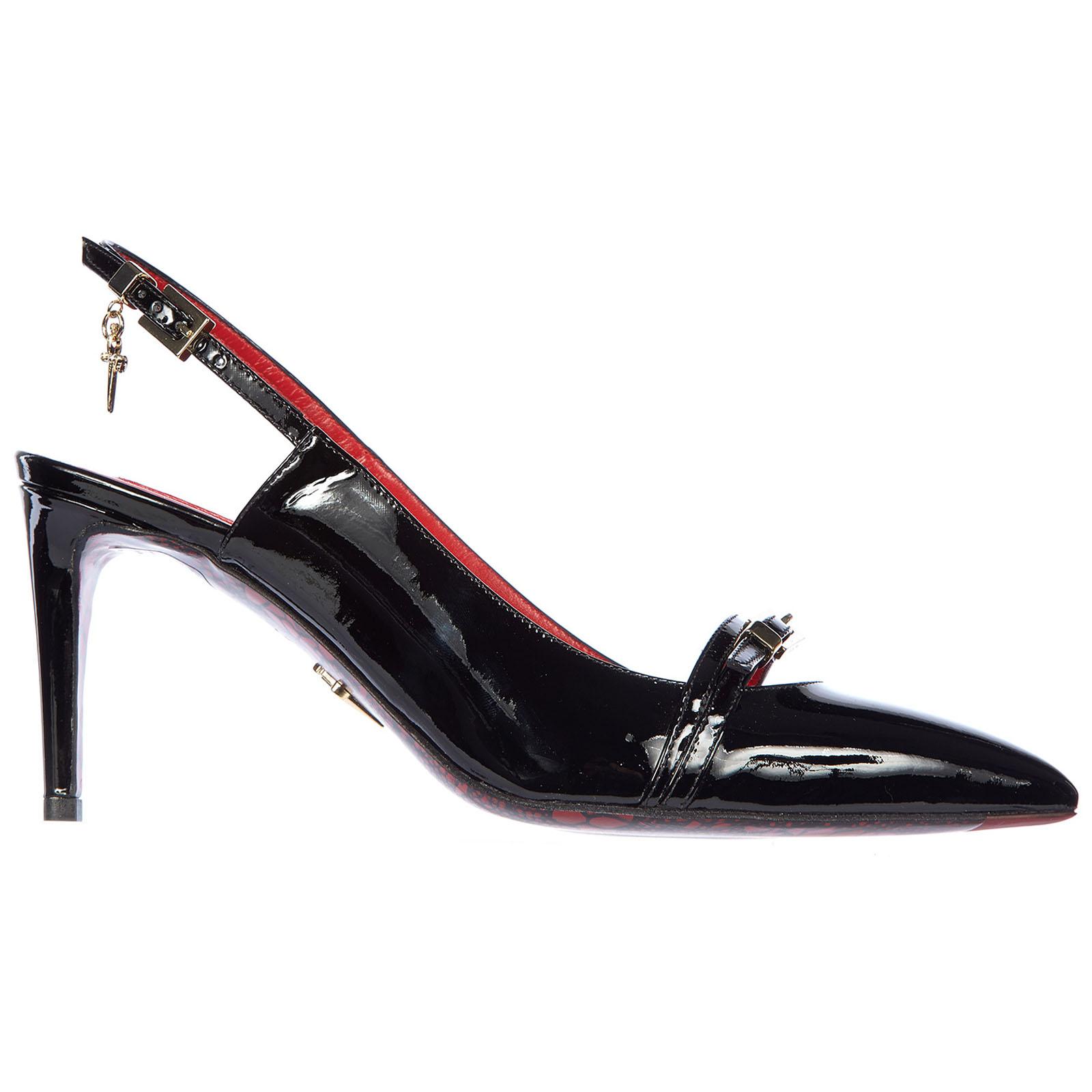 Decolletes decoltè scarpe donna con tacco pelle vernice luce