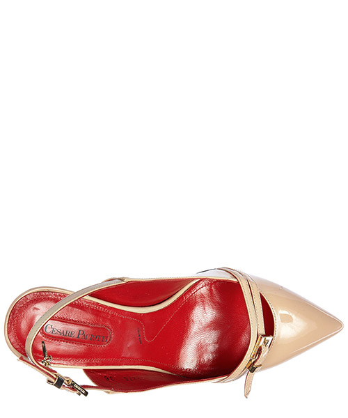 Decolletes decoltè scarpe donna con tacco pelle vernice luce secondary image