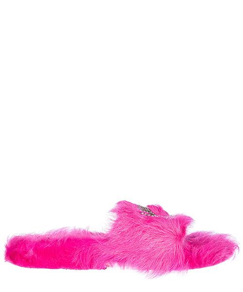 Fur slides Chiara Ferragni logomania CF1596 fucsia