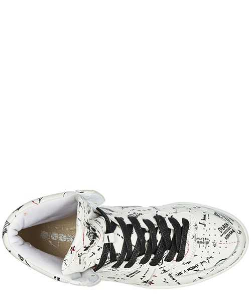 Men's shoes high top leather trainers sneakers mi basket biro secondary image